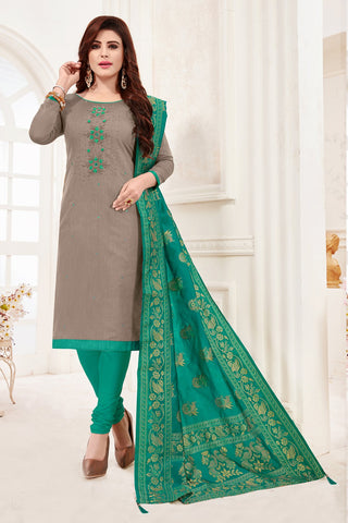 Grey Color Cotton Flex Women's Un-Stitched Salwar Suit - 78271