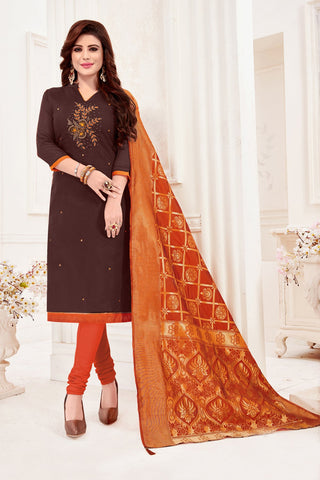 Dark Brown Color Cotton Flex Women's Un-Stitched Salwar Suit - 78272