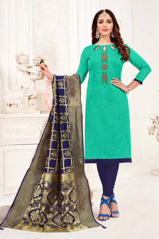 Aqua Green Color Cotton Flex Women's Un-Stitched Salwar Suit - 78273