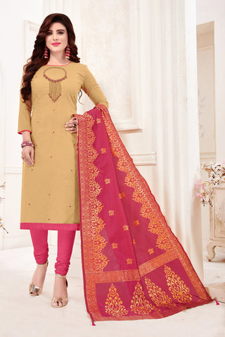 Cream Color Cotton Flex Women's Un-Stitched Salwar Suit - 78274