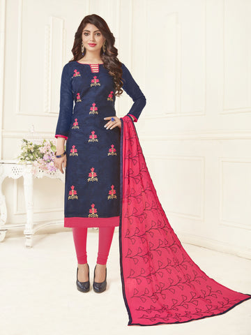 Blue Color Bombey Jacquard Women's Un-Stitched Salwar Suit - 78285