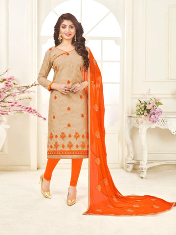 Beige Color Bombey Jacquard Women's Un-Stitched Salwar Suit - 78287