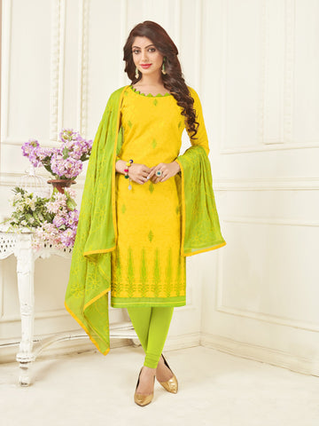 Yellow Color Bombey Jacquard Women's Un-Stitched Salwar Suit - 78290