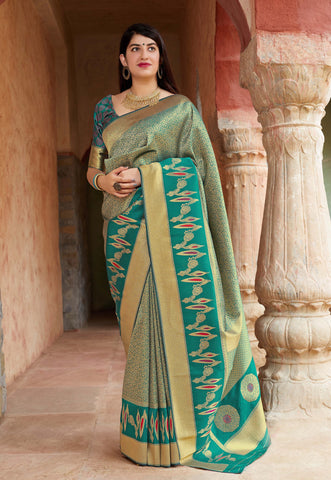 Green Color Banarasi Silk Women's Saree - 78751