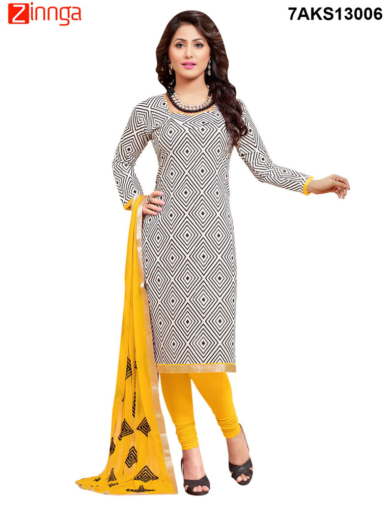 Black Color Chanderi and Cotton Silk Dress Material