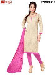 Beige Color Chanderi and Cotton Silk Dress Material