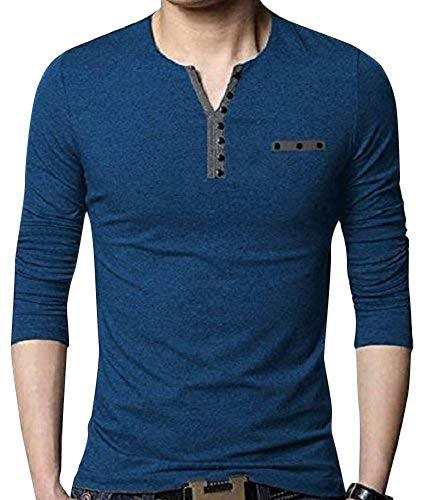 Buy Blue Color Cotton Hoseiry Men's V Neck Tshirt