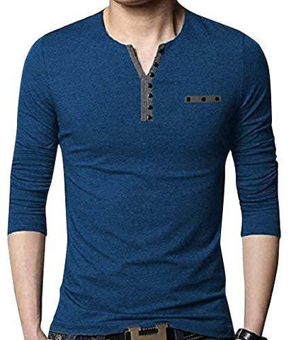 Blue Color Cotton Hoseiry Men's Henley Neck Tshirt - 7BT-BLUE