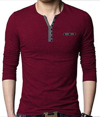 Buy Red Color Cotton Hoseiry Men's V Neck Tshirt