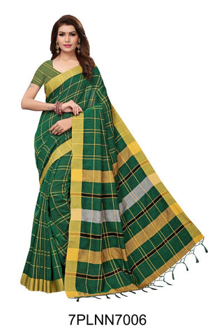 Green Color Pure Linen Saree - 7PLNN7006
