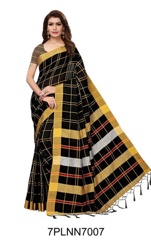Black Color Pure Linen Saree - 7PLNN7007