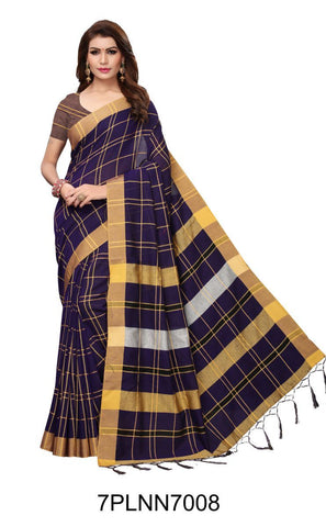 NavyBlue Color Pure Linen Saree - 7PLNN7008