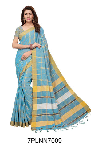 Light Blue Color Pure Linen Saree - 7PLNN7009