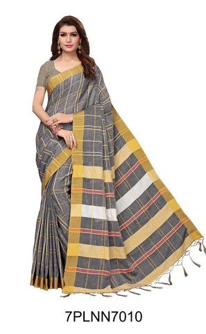 Grey Color Pure Linen Saree - 7PLNN7010