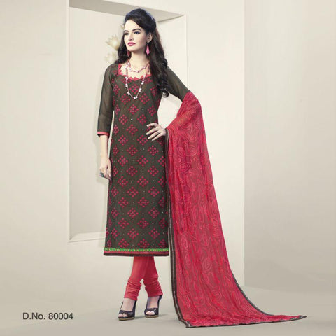 Brown Color Chanderi Silk Un Stitched Salwars - 80004