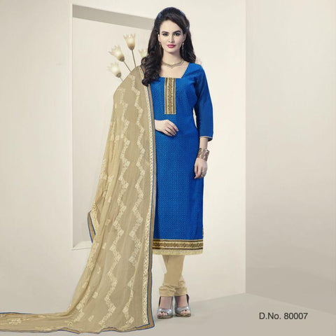 Blue Color Chanderi Silk Un Stitched Salwars - 80007