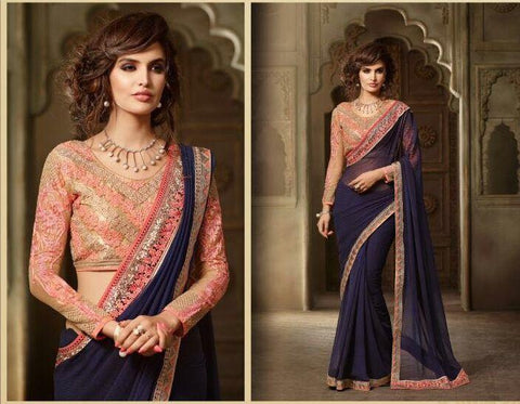 Beige and Blue Color Georgette and Net Saree - 8005