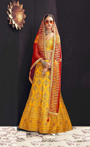 Yellow Color Banglori Silk Women's Semi Stitched Lehenga - 80626