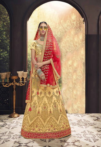 Beige Color Banglori Silk Women's Semi Stitched Lehenga - 80629