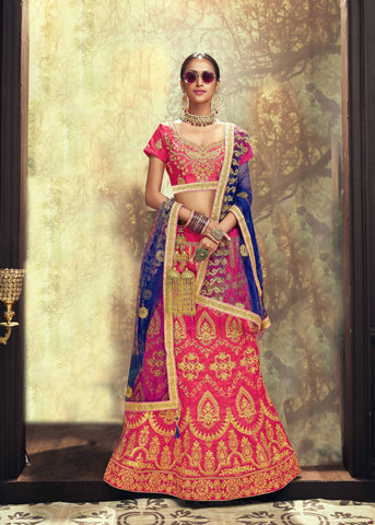 Pink Color Banglori Silk Women's Semi Stitched Lehenga - 80630