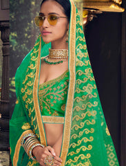 Green Color Banglori Silk Women's Semi Stitched Lehenga - 80631