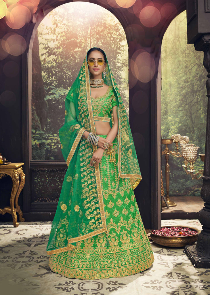 Buy Green Color Banglori Silk Women's Semi Stitched Lehenga