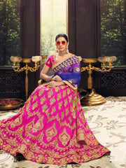 Pink Color Banglori Silk Women's Semi Stitched Lehenga - 80632