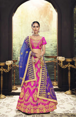 Buy Pink Color Banglori Silk Women's Semi Stitched Lehenga