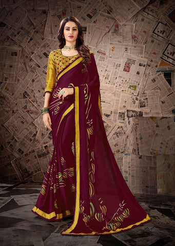 Maroon Color Satin Georgette Women's Saree - 80892