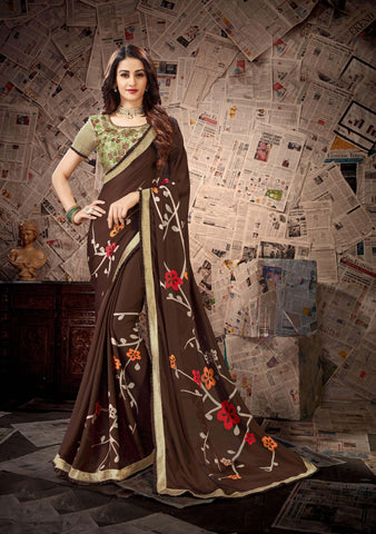 Brown Color Satin Georgette Women's Saree - 80893