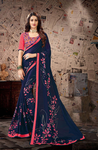 Blue Color Satin Georgette Women's Saree - 80894
