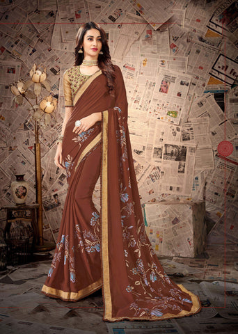 Brown Color Satin Georgette Women's Saree - 80897