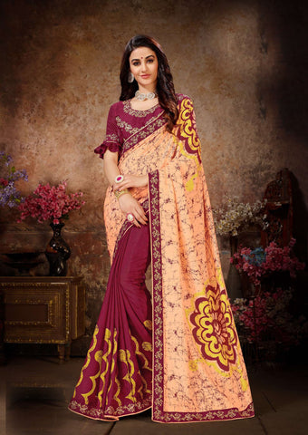 Peach Maroon Color Dola Silk Women's Saree - 80900