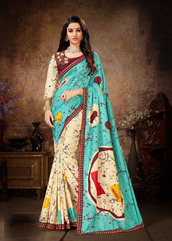 Blue Cream Color Dola Silk Women's Saree - 80901