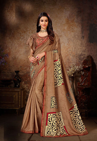 Brown Color Dola Silk Women's Saree - 80902