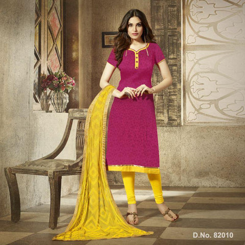 Magenta Color Cotton Satin Un Stitched Salwar - 82010