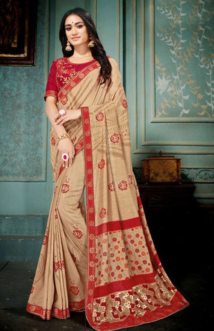 Beige Color Vichitra Silk Women's Saree - 82757