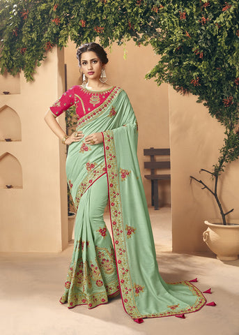 Sea Green Color Art Silk Women's Saree - 83645