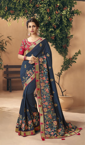 Navy Blue Color Art Silk Women's Saree - 83648