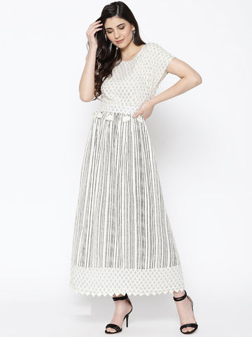 Off White Color Cotton Women's Stitched Kurti - 83857