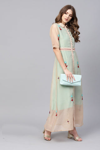 Sea Green Color Blended Women's Stitched Kurti - 83859