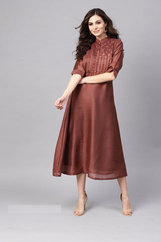 Brown Color Modal Women's Stitched Kurti - 83861