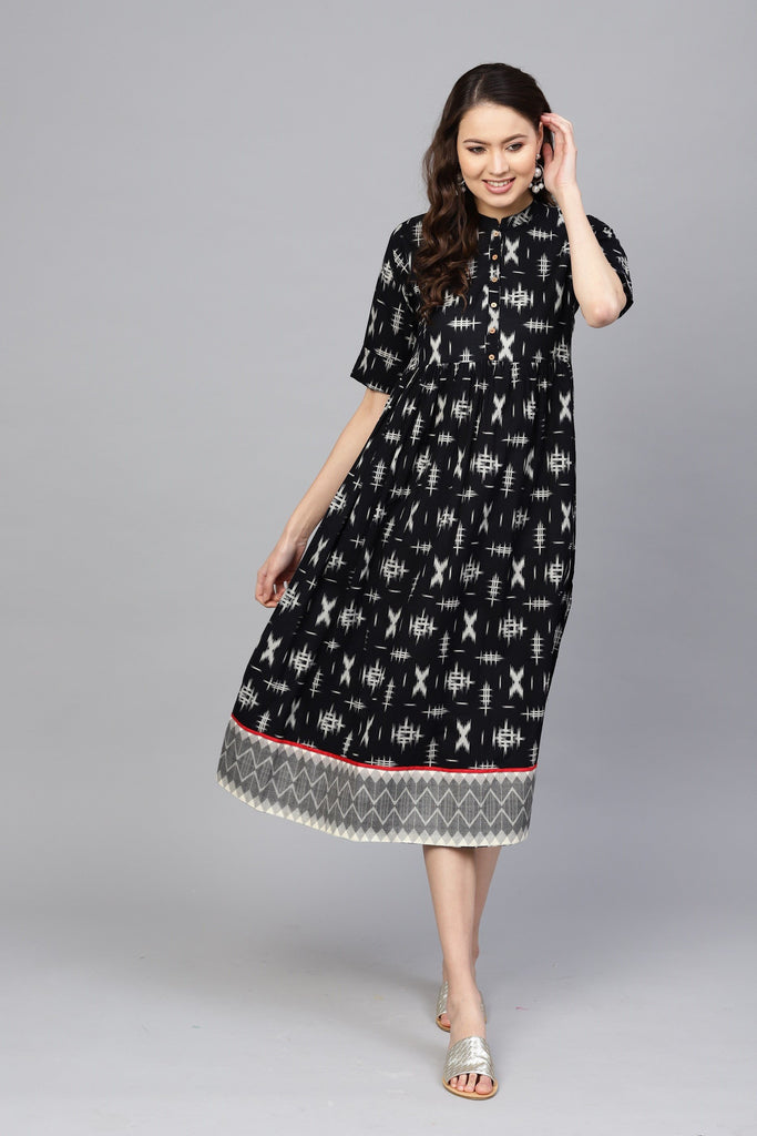 Buy Black Color Cotton Women's Stitched Kurti