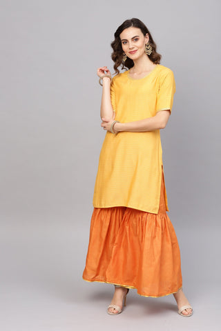 Yellow Color Pure Cotton Women's Stitched Kurti - 83865