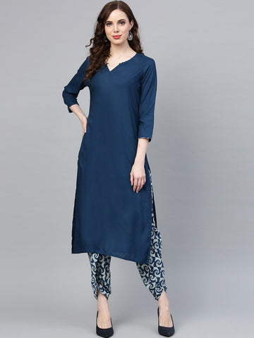 Navy Blue Color Viscose Rayon Women's Stitched Kurti - 83866