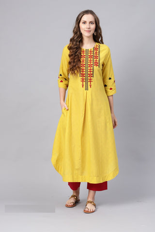 Yellow Color Pure Cotton Women's Stitched Kurti - 83867