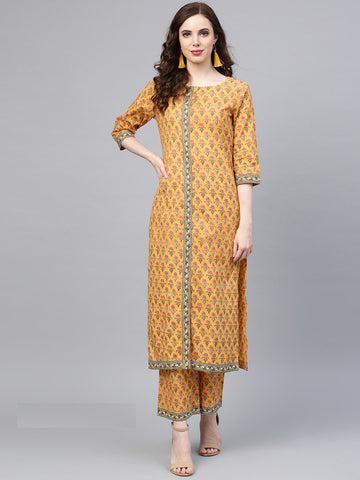 Mustard Color Pure Cotton Women's Stitched Kurti - 83869