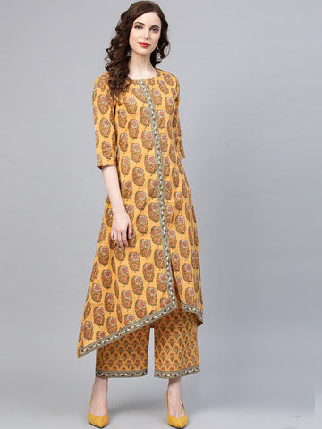 Mustard Color Pure Cotton Women's Stitched Kurti - 83870