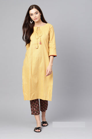 Yellow Color Pure Cotton Women's Stitched Kurti - 83871