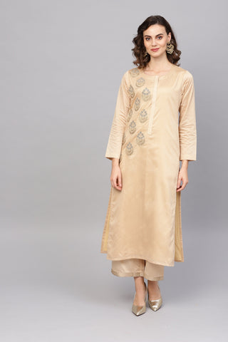Beige Color Art Silk Women's Stitched Kurti - 83872